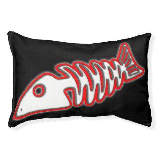 Diseño rojo del pingüino del hueso de pescados mún cama para perro pequeño