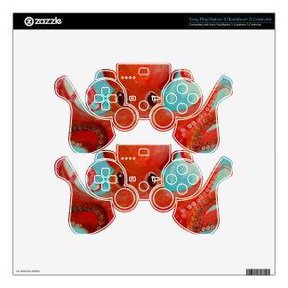 Diseño rojo del pulpo. mando PS3 skins