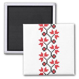 Diseño rojo del punto de cruz de la flor de las imán cuadrado