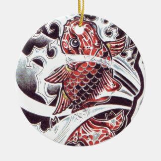 Diseño rojo del tatuaje de Koi Adorno Redondo De Cerámica