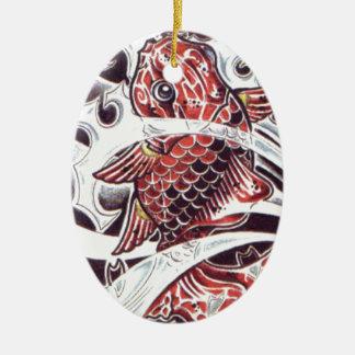 Diseño rojo del tatuaje de Koi Adorno Ovalado De Cerámica