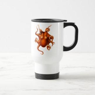 Diseño rojo del vintage del cefalópodo del pulpo taza de viaje