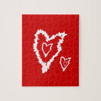 Diseño rojo fresco del corazón del amor puzzle