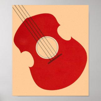 Diseño rojo gráfico del instrumento musical de la  póster