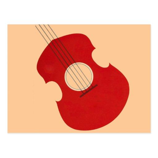 Diseño rojo gráfico del instrumento musical de la  postal