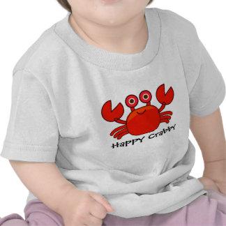 Diseño rojo malhumorado/lindo feliz del cangrejo d camiseta