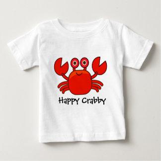Diseño rojo malhumorado/lindo feliz del cangrejo playera de bebé
