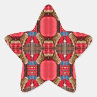 Diseño rojo. Modelo elegante cuadrado Pegatina En Forma De Estrella