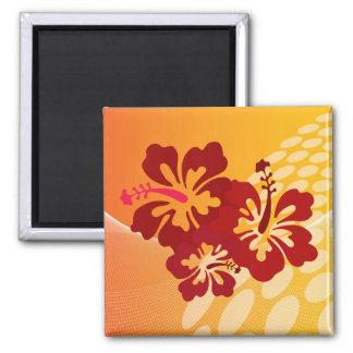 Diseño rojo oscuro del hibisco imán cuadrado