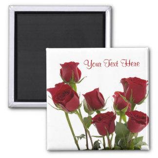 Diseño rojo oscuro magnífico del rosa imán cuadrado