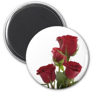 Diseño rojo oscuro magnífico del rosa imán redondo 5 cm