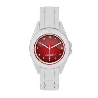 Diseño rojo que se divierte personalizado reloj