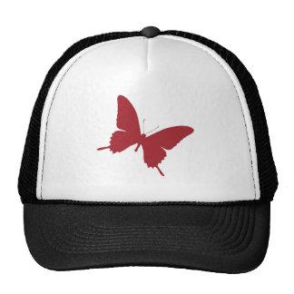 Diseño rojo simple de la mariposa gorras