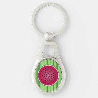 Diseño rojo verde de la sandía llavero plateado ovalado