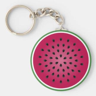 Diseño rojo verde de la sandía llavero redondo tipo pin