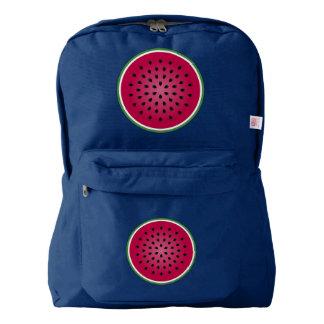 Diseño rojo verde de la sandía mochila