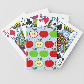 Diseño rojo verde del modelo de la manzana baraja de cartas bicycle