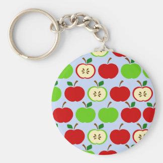 Diseño rojo verde del modelo de la manzana llavero redondo tipo pin