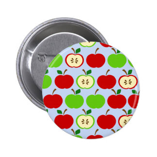 Diseño rojo verde del modelo de la manzana pin redondo de 2 pulgadas