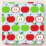 Diseño rojo verde del modelo de la manzana posavasos de bebidas