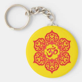Diseño rojo y amarillo floral de Aum Llavero Redondo Tipo Pin