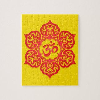 Diseño, rojo y amarillo florales de Aum Rompecabezas