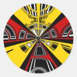 Diseño rojo y amarillo moderno fresco del pegatina redonda