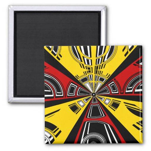Diseño rojo y amarillo moderno fresco del semicírc imán para frigorífico