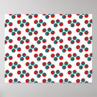 Diseño rojo y azul del círculo del fractal del póster