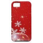 Diseño rojo y blanco de la chuchería del navidad d iPhone 5 funda