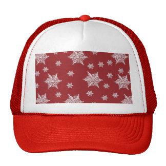 Diseño rojo y blanco del copo de nieve gorras de camionero