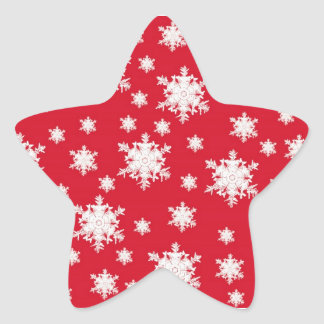 Diseño rojo y blanco del copo de nieve pegatina en forma de estrella