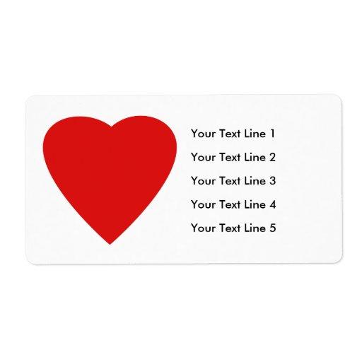 Diseño rojo y blanco del corazón del amor etiquetas de envío
