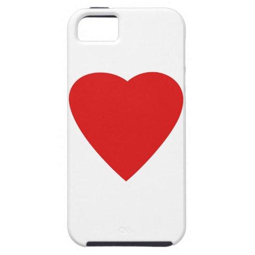 Diseño rojo y blanco del corazón del amor iPhone 5 Case-Mate protector