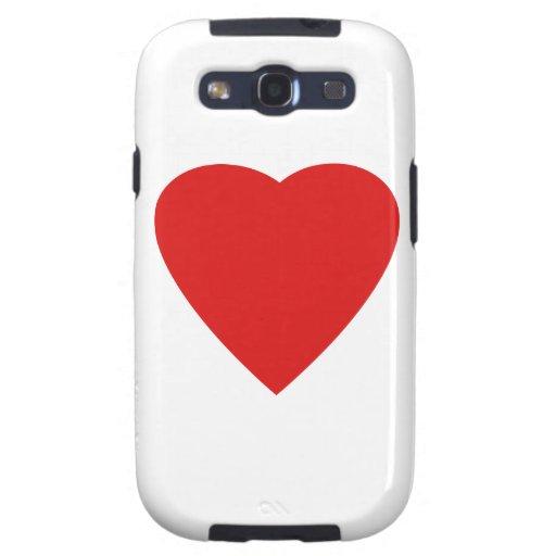 Diseño rojo y blanco del corazón del amor samsung galaxy s3 carcasa