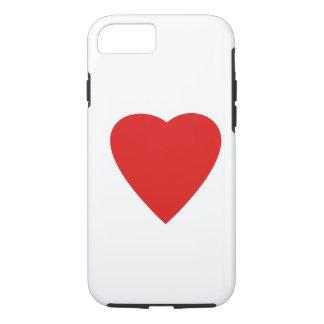 Diseño rojo y blanco del corazón del amor funda iPhone 7