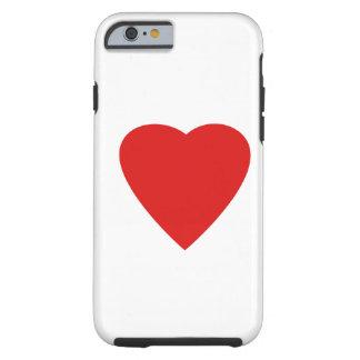 Diseño rojo y blanco del corazón del amor funda resistente iPhone 6