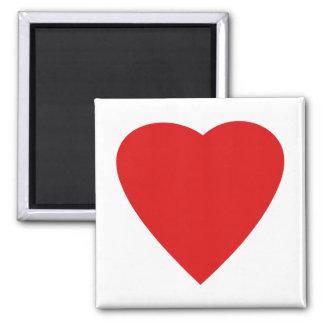 Diseño rojo y blanco del corazón del amor imán cuadrado