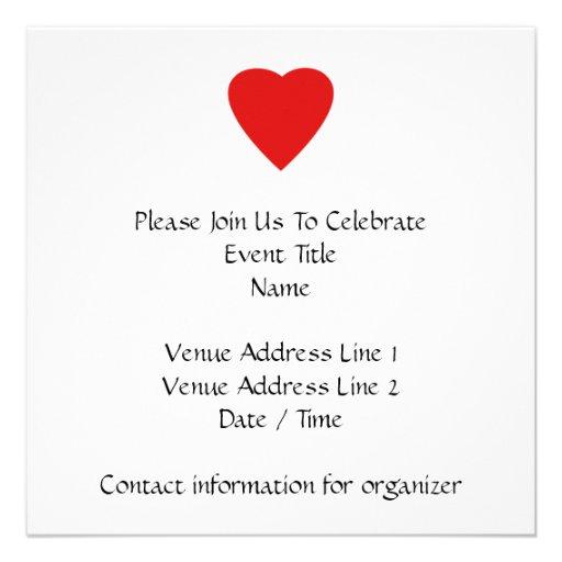 Diseño rojo y blanco del corazón del amor invitaciones personales