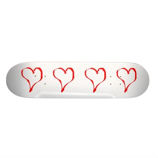 Diseño rojo y blanco del corazón del amor patin personalizado