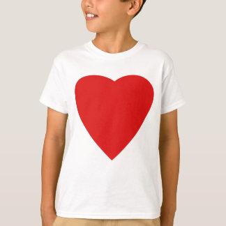 Diseño rojo y blanco del corazón del amor playera