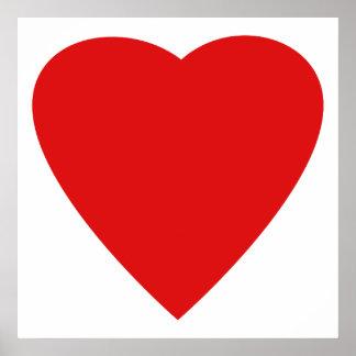 Diseño rojo y blanco del corazón del amor póster