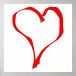 Diseño rojo y blanco del corazón del amor posters