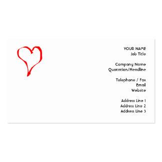 Diseño rojo y blanco del corazón del amor plantilla de tarjeta personal