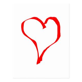 Diseño rojo y blanco del corazón del amor postal