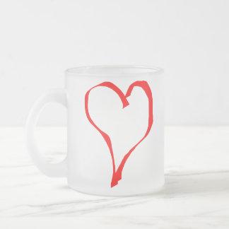Diseño rojo y blanco del corazón del amor taza de café esmerilada