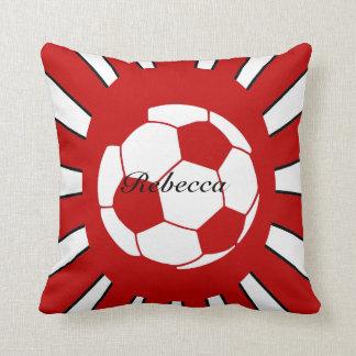 Diseño rojo y blanco personalizado del fútbol cojín