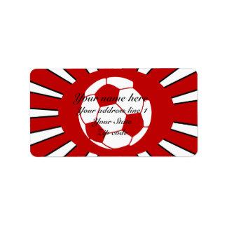 Diseño rojo y blanco personalizado del fútbol etiqueta de dirección