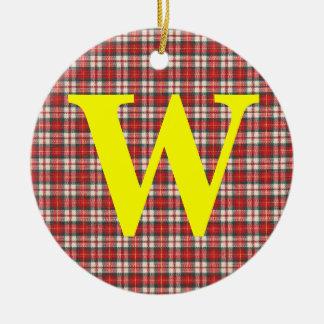 Diseño rojo y negro blanco de la materia textil de adorno navideño redondo de cerámica