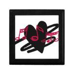 Diseño rojo y negro de la música del amor cajas de joyas
